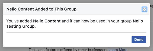 Facebook confirma que has instalado Nelio Content en tu grupo.
