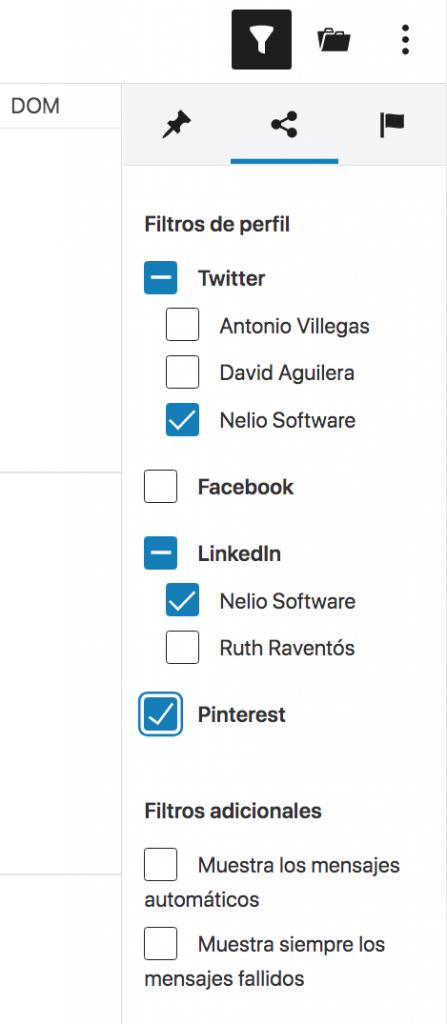 Filtrar mensajes sociales en el calendario editorial.