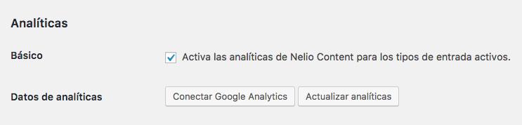 """Incluye tus datos de Google Analytics en el cálculo de analíticas de Nelio Content pulsando el botón """"Conectar Google Analytics"""" en los ajustes del plugin."""