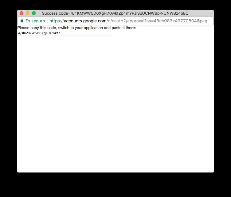 Código de validación de la autorización para ver los datos de Google Analytics.
