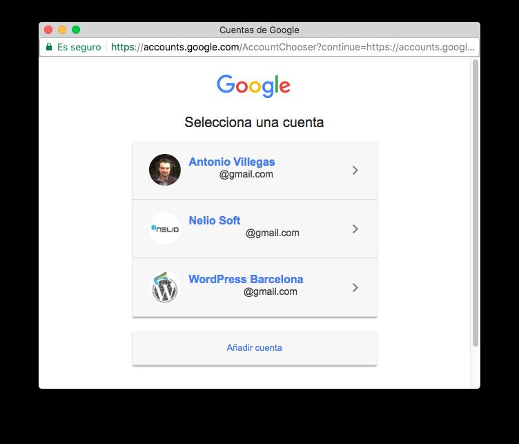 Diálogo de selección de cuenta de Google.