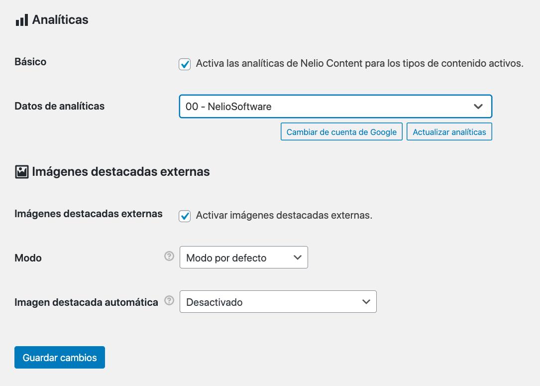 Vista de Google Analytics seleccionada en las opciones de analíticas de Nelio Content.
