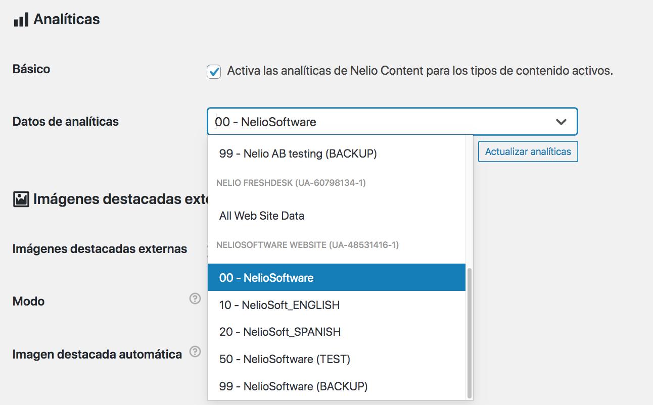 Selección de la vista de Google Analytics que se utilizará para leer los datos necesarios para las analíticas de Nelio Content.