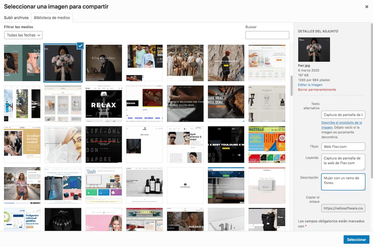 Selector de imágenes de la biblioteca de medios