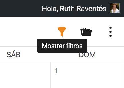 Icono de mostrar filtros del calendario editorial de Nelio Content.
