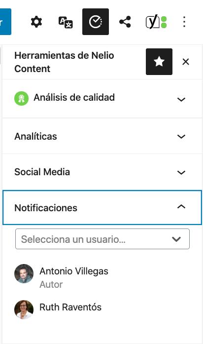 Selección de los usuarios a los que quieres enviar notificaciones por cambio de estado de publicación de la entrada.