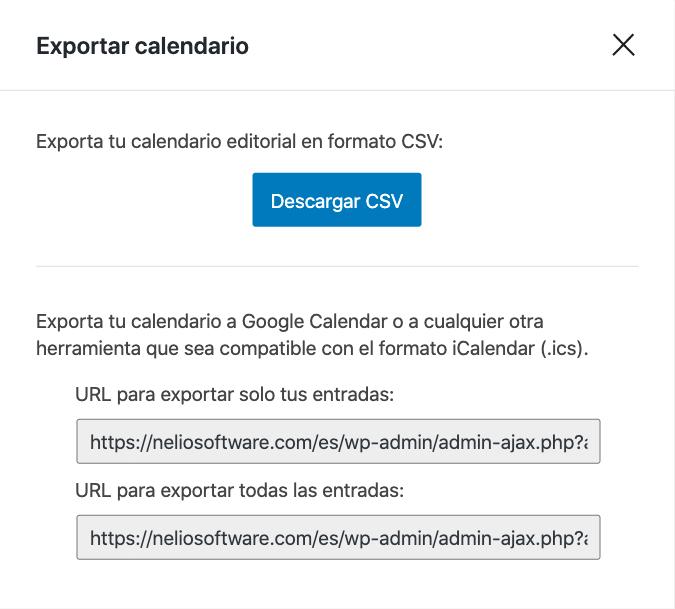 Opciones de exportación del calendario editorial