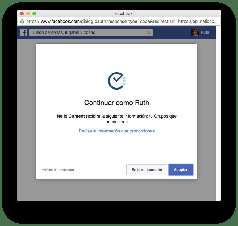 Autorizar a Nelio Content a publicar contenido en tus grupos de Facebook.