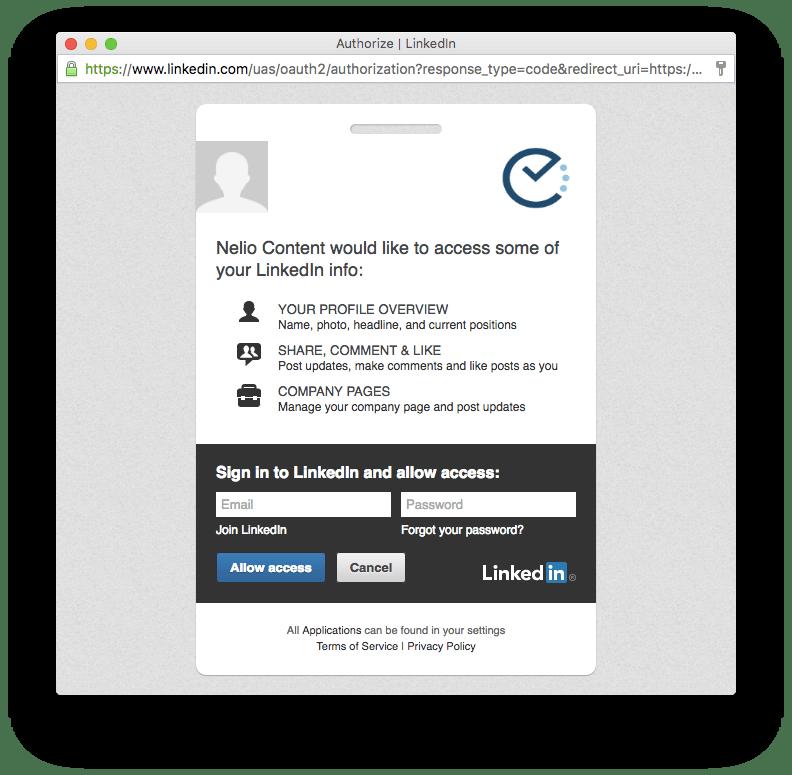 Autorización a Nelio Content a utilizar un perfil social de LinkedIn