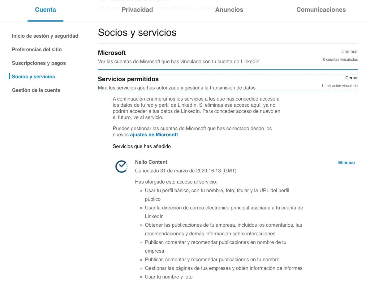 Lista de aplicaciones con permisos en LinkedIn.