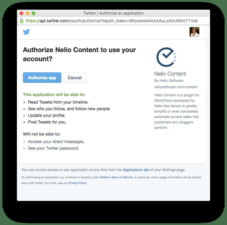 Solicitud de autorización a Nelio Content a utilizar tu perfil social de Twitter