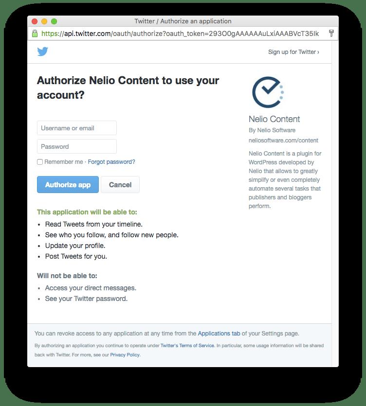 Solicitud de autorización a Nelio Content a utilizar un perfil social de Twitter