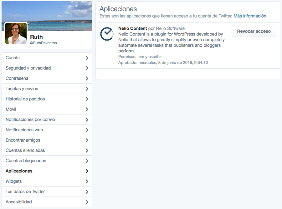 Lista de aplicaciones con permisos en Twitter