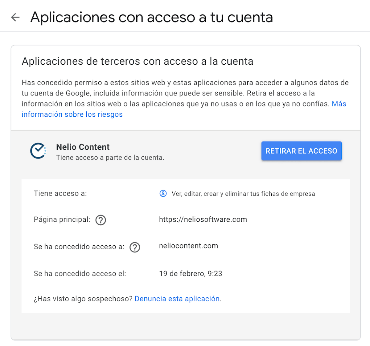 Revocar el permiso de acceso de terceros de Nelio Content a la cuenta de Google.