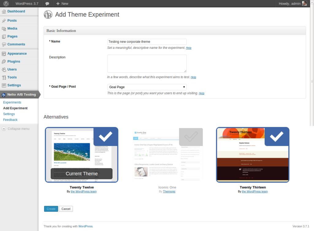 Wordpress Theme A/B Testing Experiment