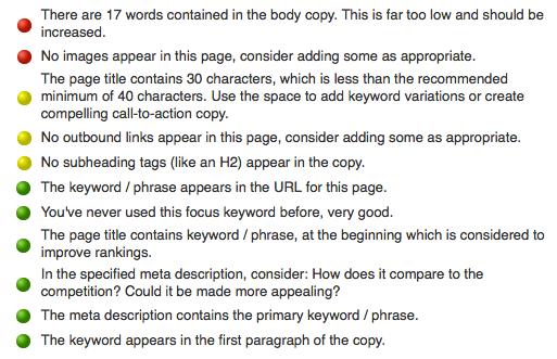 Bad color usage by WordPress SEO by Yoast