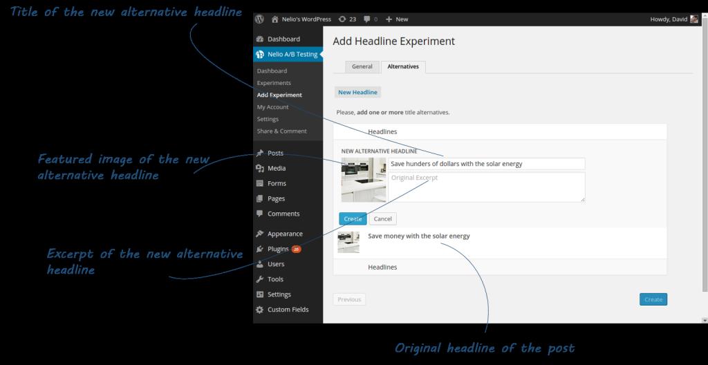 Screenshot of Alternative Information of a Headline Experiment