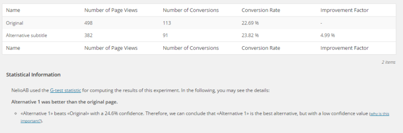 Screenshot of Results and Statistical Information of an Experiment