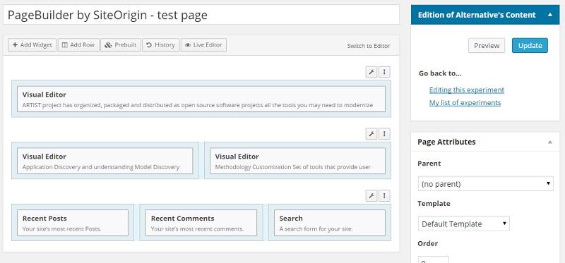 SiteOrigin testing alternative