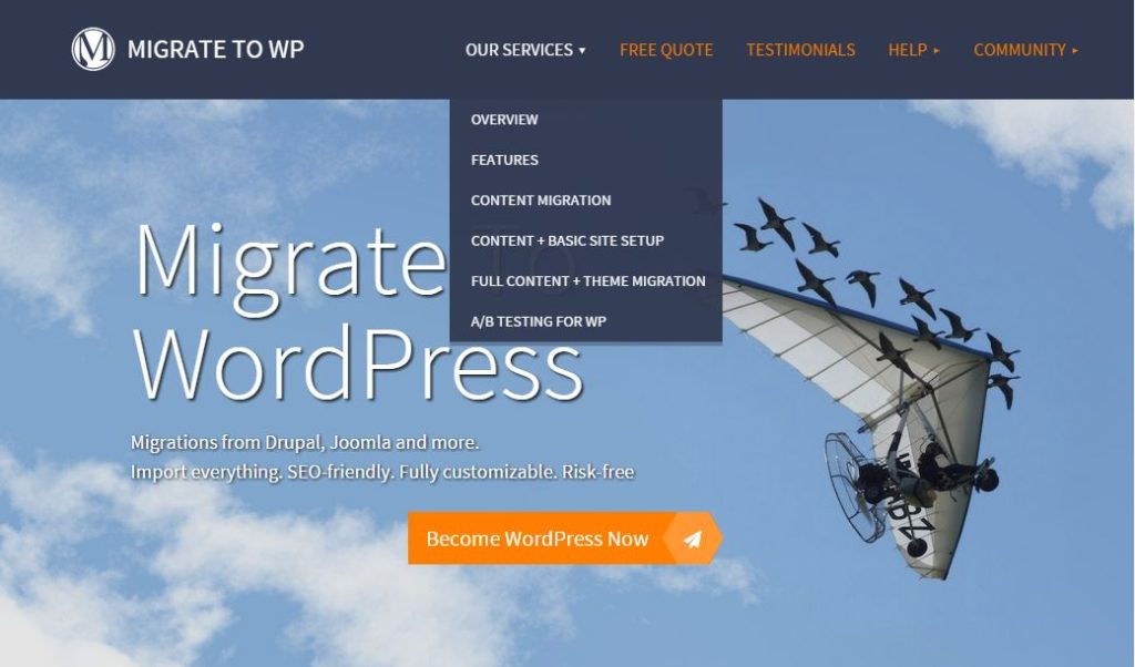 Screenshot of Migrate to WordPress Menu - Our services
