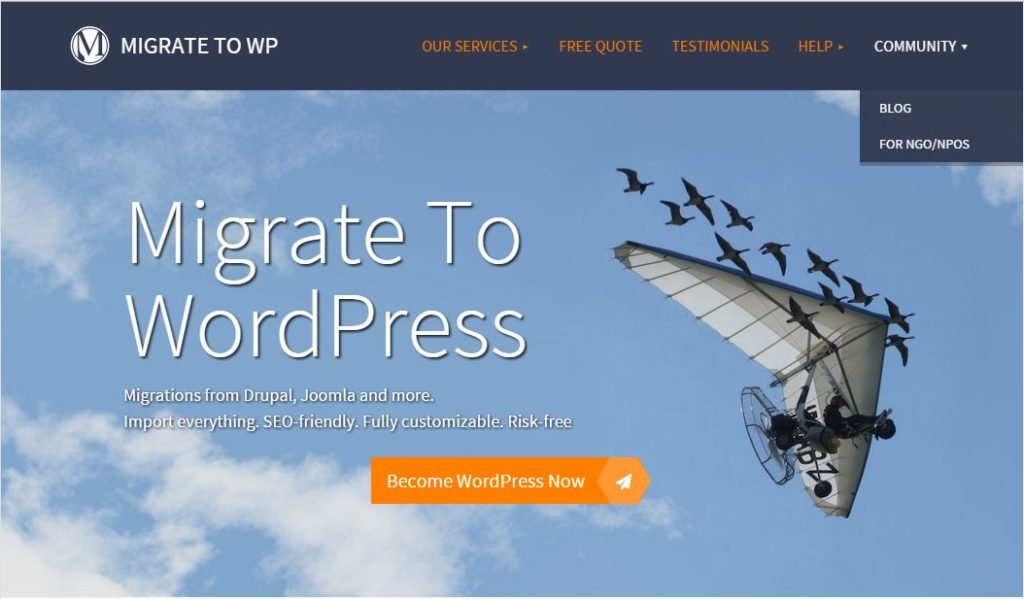 Screenshot of Migrate to WordPress Menu - Community