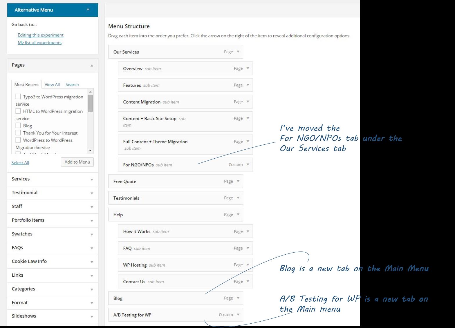 Screenshot of Editing New Menu of Menu Tests