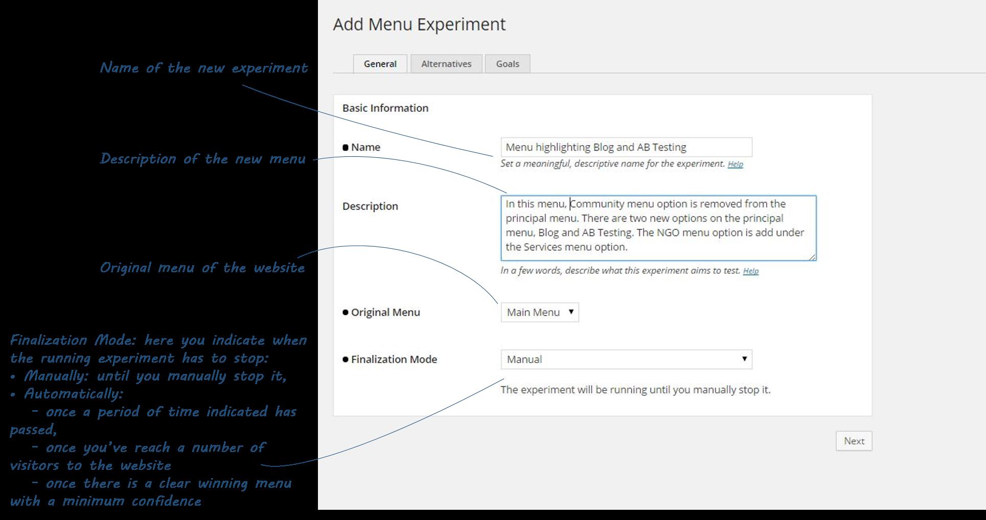 Screenshot of filling basic information of Menu tests