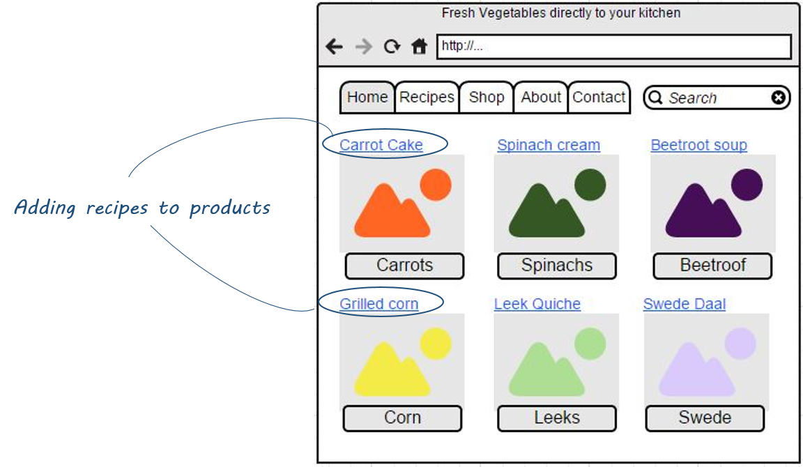 Mockup of Alternative Fresh Vegetables ecommerce