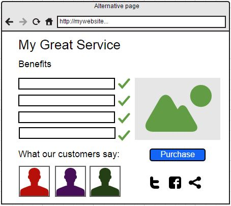 Mockup of Alernative Landing Page