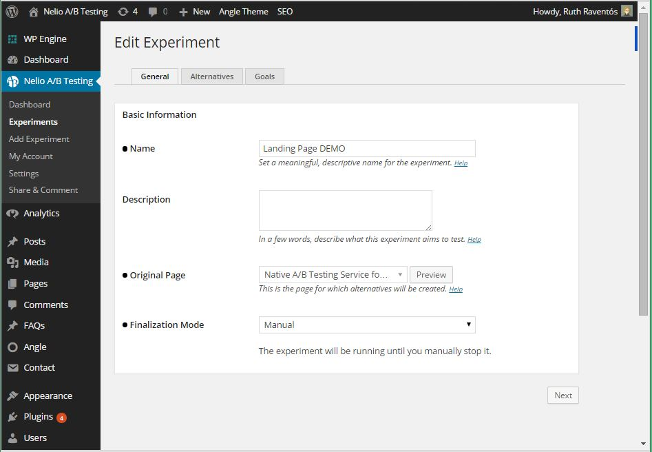 Screenshot of Edit Experiment of Landing Page