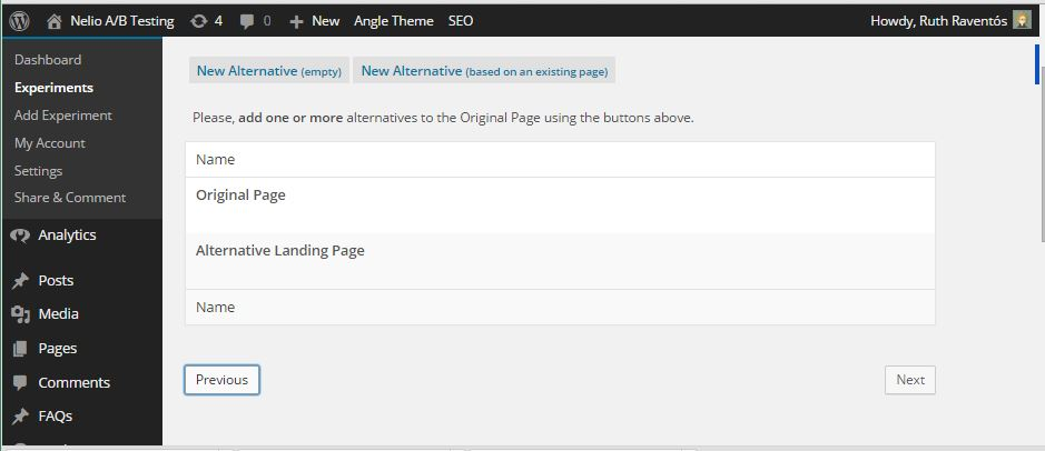 Screenshot of Creating a New Alternative Landing Page