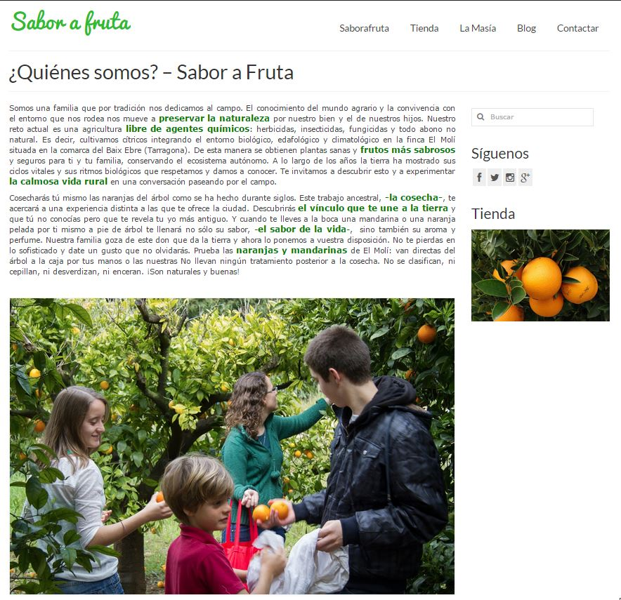 Screenshot of saborafruta.com About Us page