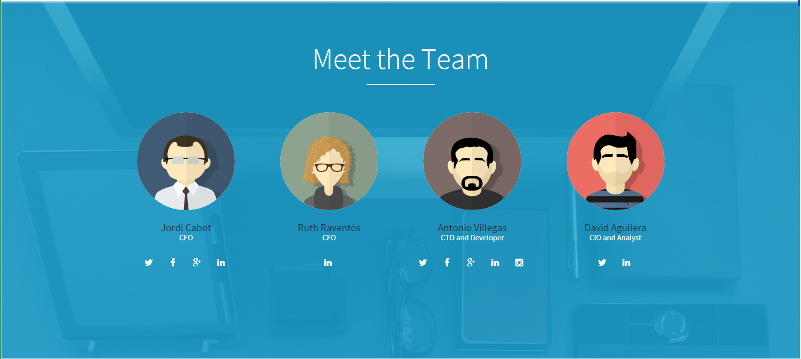Screenthot of Original Version of Meet The Team in our Landing Page