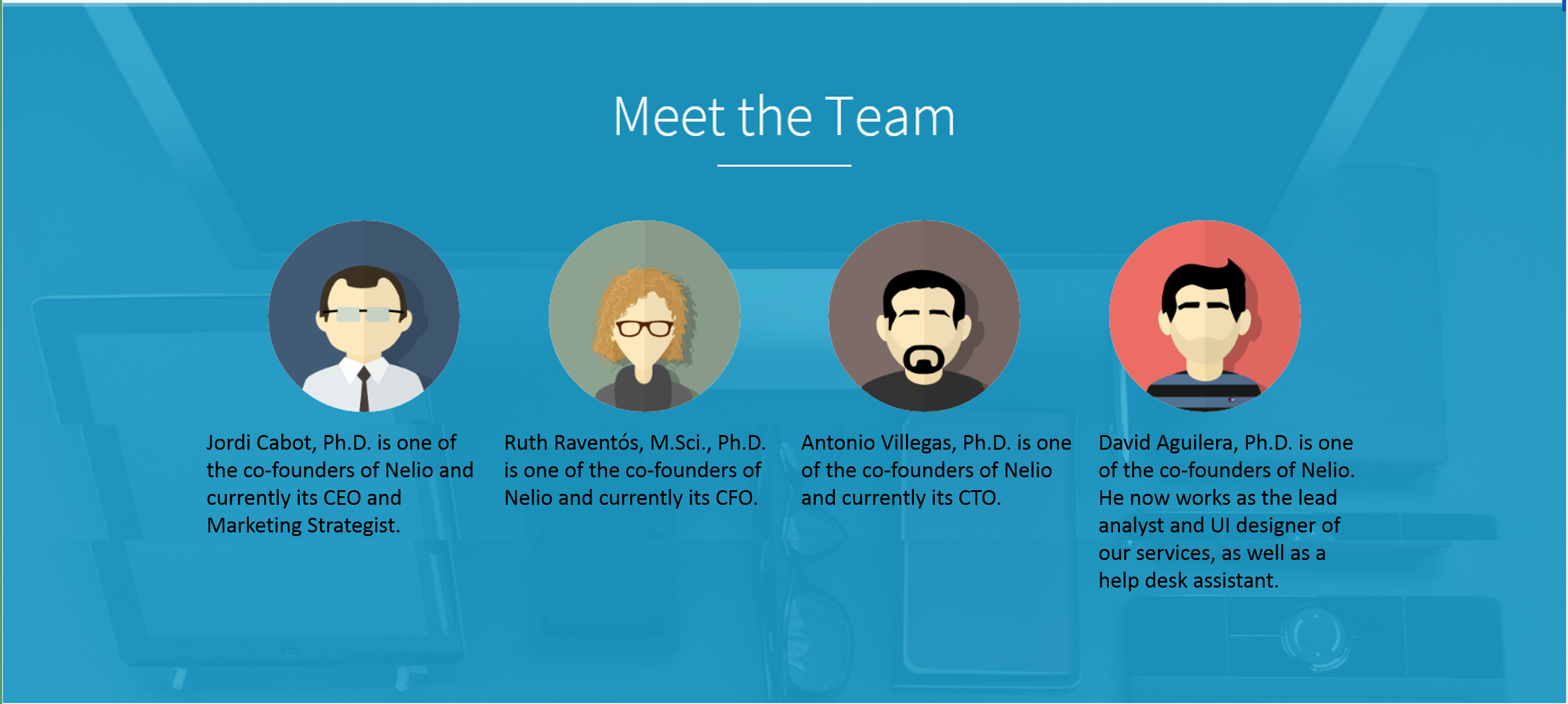 Screenthot of Alternative Version of Meet The Team in our Landing Page