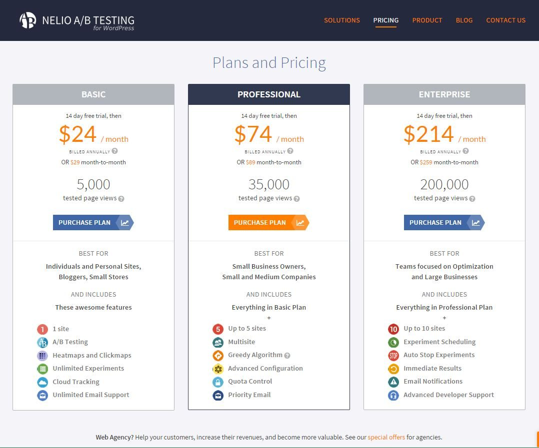 Snapshot of the Plans And Pricing page of Nelio A/B Testing