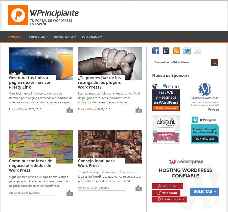 Screenshot of Alternative Version of WPrincipiante.es