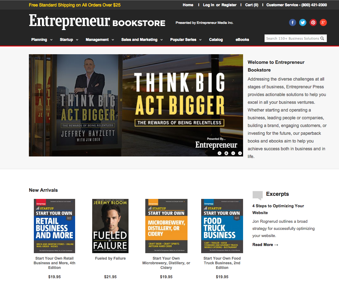 Entrepreneur Bookstore website