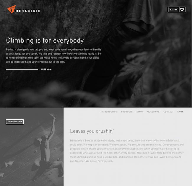 Menagerie Climb website