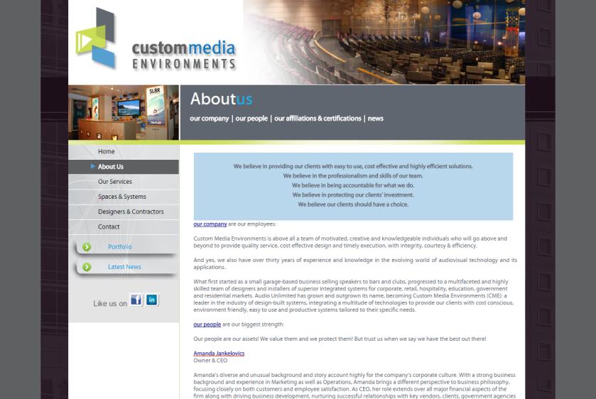 Custom Media Environments Website