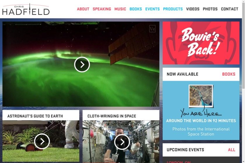 Chris HadField Website