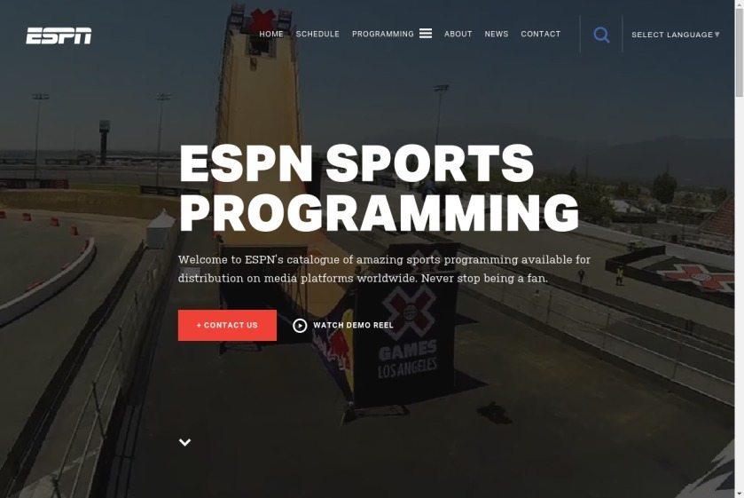 ESPN Sports Programming Website