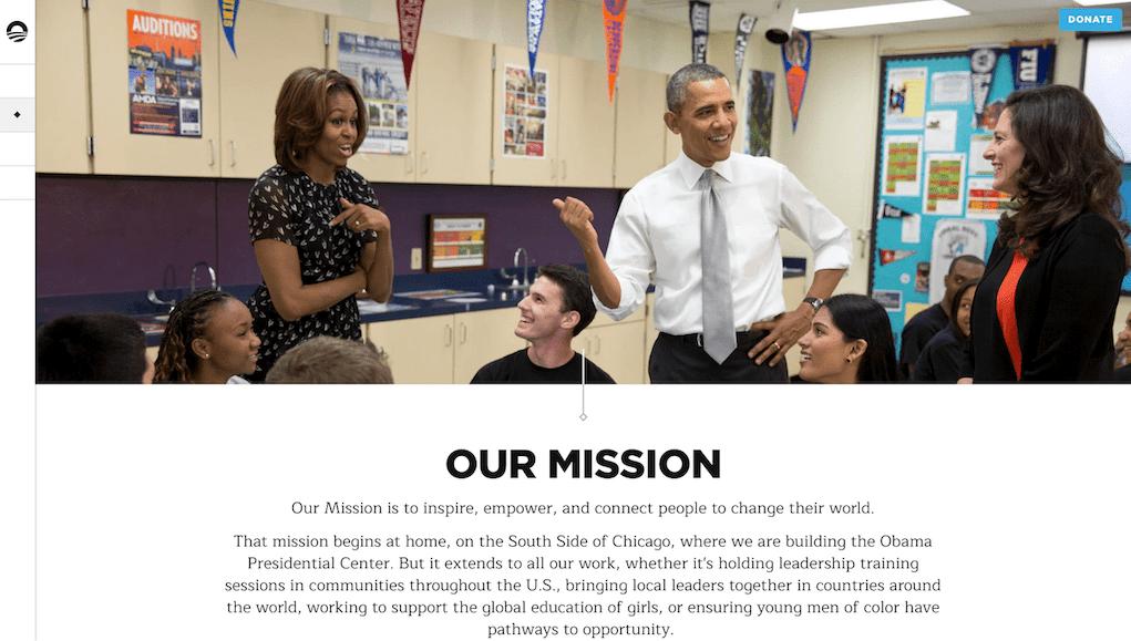 The Obama Foundation website Screenshot