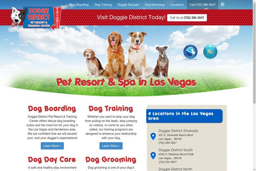 Doggie District Pet Resort and Training Center Website