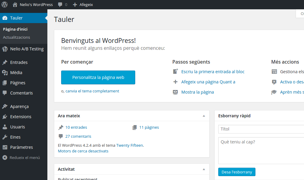 WordPress Dashboard in Catalan