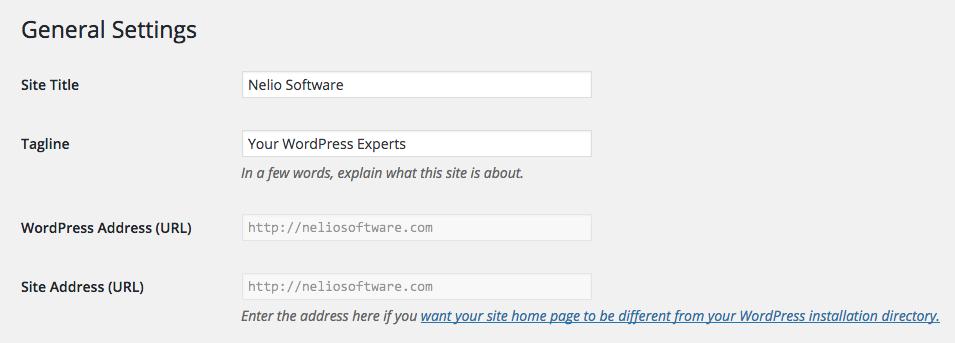 Settings -> General in WordPress
