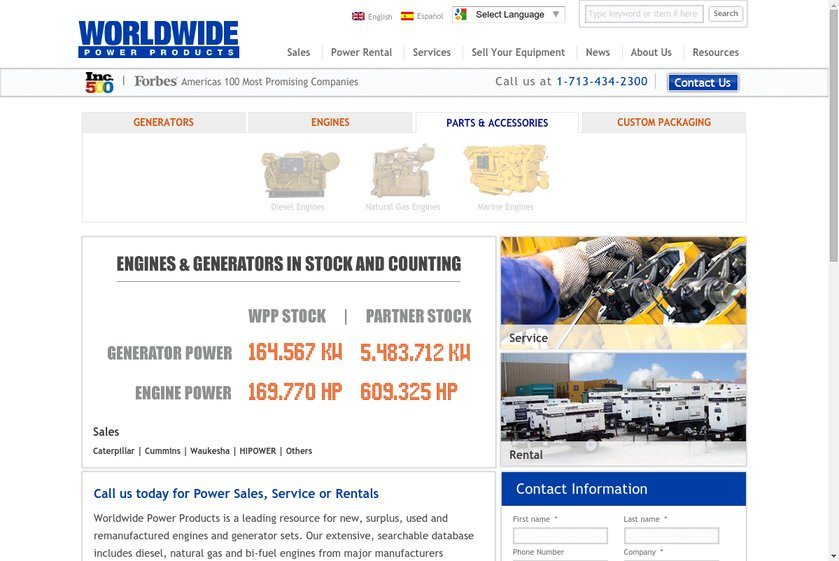 Worldwide Power Products Website