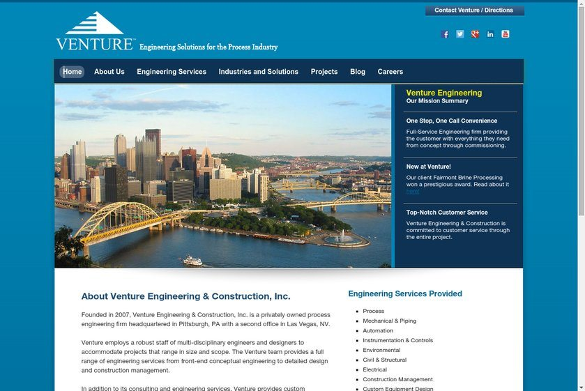 Venture Engineering and Construction Website