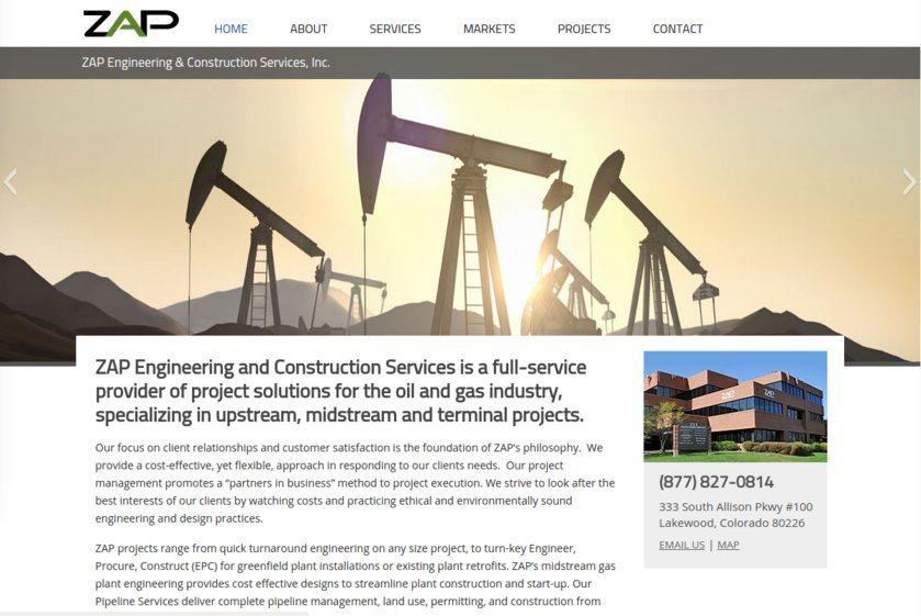 ZAP Engineering & Construction Services Website