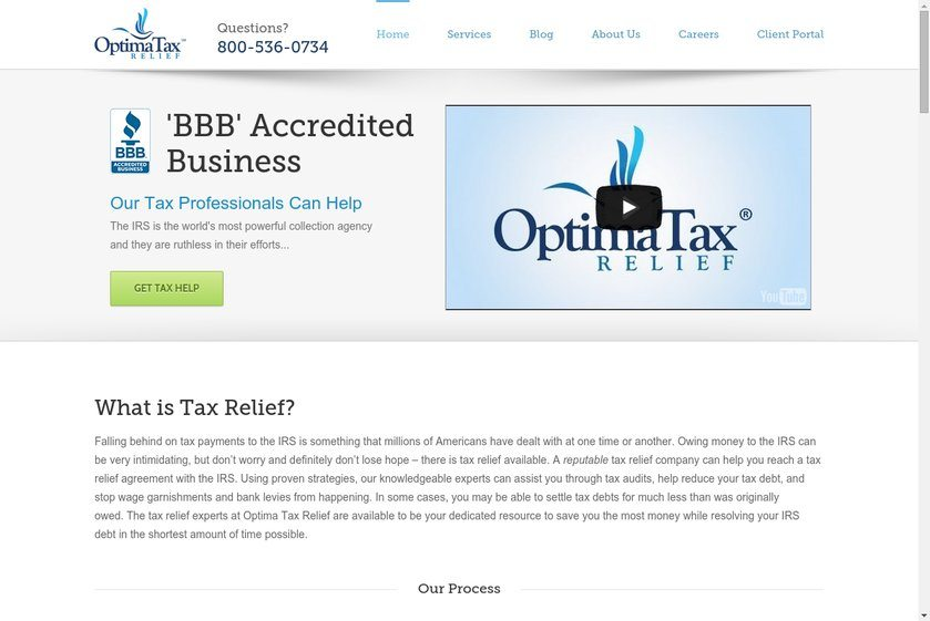 OptimaTax Relief Website