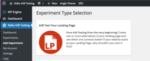 Screen Shot of Selecting a Landing Page Experiment